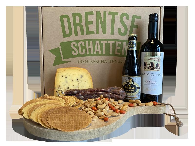 Drents-Schatje-Pakket-Kaas-Worst-Wijn-Bier-Kniepertjes-Nootjes